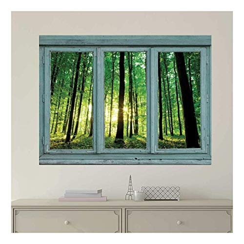 Vintage Teal Window Looking Out Into a Greenery Forest - Wall Mural, Removable Sticker, Home Decor - 24x32 inches