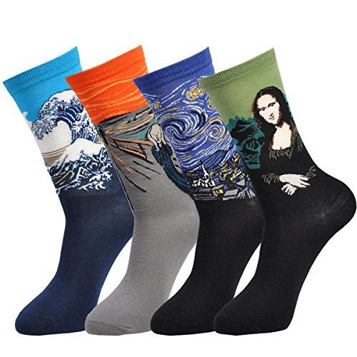 Epeius 4 Pairs Unisex Famous Painting Masterpiece Artwork Crew Socks Assorted Mona Lisa,Shoe Size 7-10