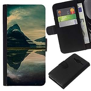 """A-type (Mountain Mist Lago"""") Colorida Impresión Funda Cuero Monedero Caja Bolsa Cubierta Caja Piel Card Slots Para Samsung Galaxy Core Prime"""
