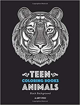 Amazon Com Teen Coloring Books Animals Black Background Midnight