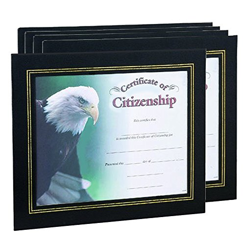 Black Leatherette Certificate Holder Frame - Package of 5 by Awards and Gifts R Us (Image #1)
