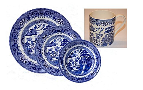 Cuthbertson Blue Willow - Cuthbertson Blue Willow Pattern 4 pc Place Setting with Mug