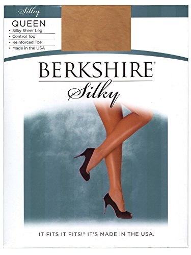 Silky Berkshire Queen Sheer (Berkshire Women's Plus-Size Queen Silky Sheer Control Top Pantyhose 4489, City Beige, 5X-6X)