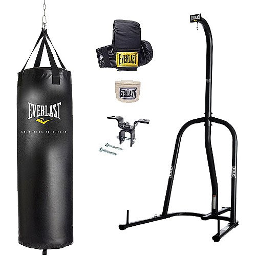 Everlast Single-Station Heavy Bag Stand in Black Finish with 70 lbs. Heavy Bag Kit BUNDLE SET! by Everlast