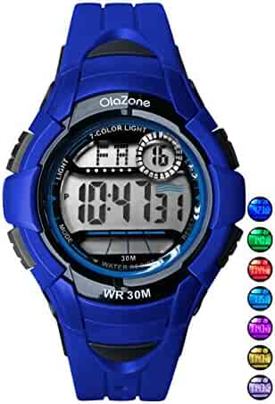 Kids Watches Girls Boys Digital 7-Color Flashing Light Water Resistant 100FT Alarm Watch for Kid Age 4-10 481 (Blue)