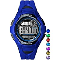 Kids Watch Boys Digital 7-Color Flashing Light Water Resistant 100FT Alarm Watch for Age 4-10 481B (Blue)