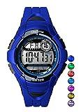 Kids Watch Boys Girls Digital 7-Color Flashing Light Water Resistant 100FT Alarm Watch