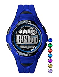 Kids Watch Digital Boys 7-color Flashing Light Water Resistant 100FT Alarm Watch for age 4-10 (Blue)