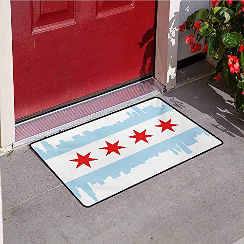 Jinguizi Chicago Skyline Welcome Door mat City of Chicago Flag with High Rise Buildings Scenery National Door mat is odorless and Durable W23.6 x L35.4 Inch Red White Baby Blue