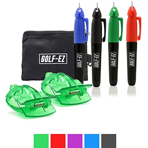 Golf-EZ Golf Ball Line Drawing Marking Alignment Tool Kit with 4pcs Marker Set and Carry Case Bulk Golf Ball Markers