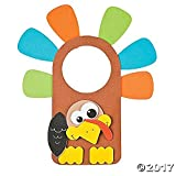 """12 ~ Thanksgiving Turkey Doorknob Hanger Craft Kits ~ Approx. 8"""" X 9"""" ~ Foam Stickers ~ New / Individually Packaged"""