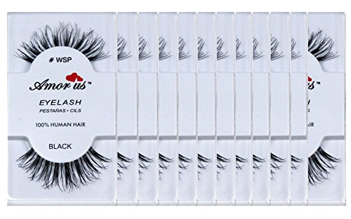 12 Pairs Amorus 100% Human Hair False Eyelashes #WSP