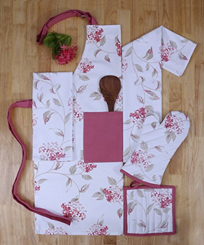 Set of Apron, Oven Mitt, Pot Holder, Pair of Kitchen Towels in a Unique Blooming Florals Design, Made of 100% Cotton,Eco-Friendly & Safe, Value Pack and Ideal Gift Set,Kitchen Linen Set By CASA DECORS