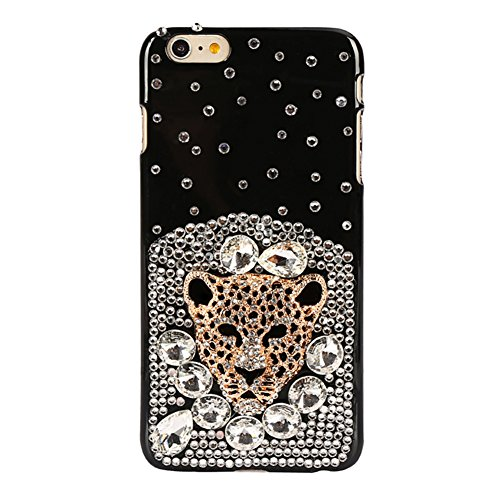 3D Details about Handmade Luxury Bling Diamond Rhinestone Crystal Leopard head Jewelled Gems Hard Case Cover for iphone 6 /6S 4.7 ()