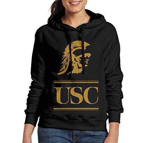 [ACFUN Women's Usc Trojans Football Logo Hooded Sweatshirt Size L Black] (Usc Fan Costume)