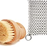 Cast Iron Sam's Cast Iron Skillet Cleaning Kit- Chainmail Scrubber and All Natural Gentle Wooden Scrub Brush. Easily Clean While Protecting Your Cast Iron Seasoning.