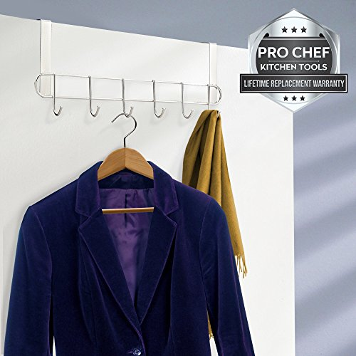 Pro Chef Kitchen Tools Stainless Steel Over the Door Rack - 6 Hook Organizer Rack Hanger with No Hole Drilling Required for Jewelry, Purses, Keys, Hats, Coats, Towel Holder, Clothes Storage Hooks lovely