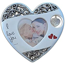 Giftgarden Mother and Daughter Gift 3.5 by 3.5 -inch Picture Frame Heart Decor Photo 3.5x3.5