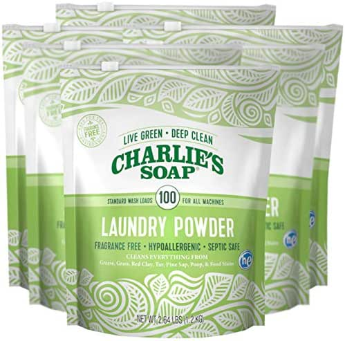 Charlie's Soap Laundry Powder (100 Loads, 6 Pack) Hypoallergenic Deep Cleaning Washing Powder Detergent – Eco-Friendly, Safe, and Effective
