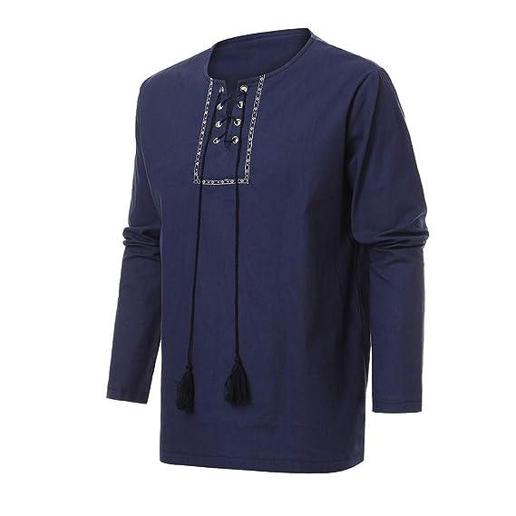 Rooper Camisa Vaquero Manga Larga para Hombre Algodón y Lino Retro Ropa Hombre Blusa Casual Sudadera