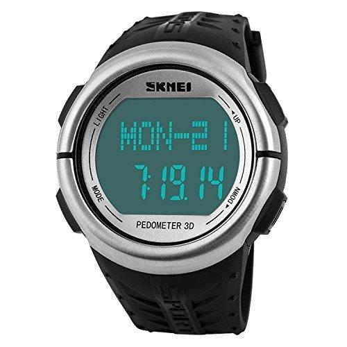 mastop Unisex pulsómetro deportes relojes 50 m resistente al agua Digital Contador de Calorías reloj (