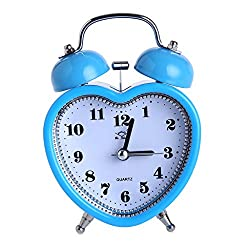 Homyl Heart Shaped 3-inch Twin Bell Alarm Clock With Night Light, Battery Operated Loud Alarm Clock, 12 Hour Display - Blue