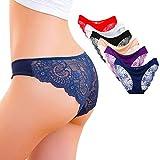Kingfung 6 Pack Women's Invisible Seamless Bikini Underwear Half Back Coverage Panties (6Pack-C XL)