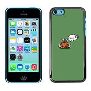 iPhone 5C - Metal de aluminio y de plástico duro Caja del teléfono - Negro - Funny Cute Viking - Problems
