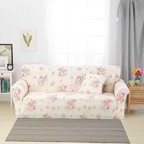 Zhiyuan Blumenmuster Gestreckte und Spandex-Sofa-Abdeckungsmöbel Slipcover mit 1 Kissenbezug kein Stuffer Beige, 4 Sitzer