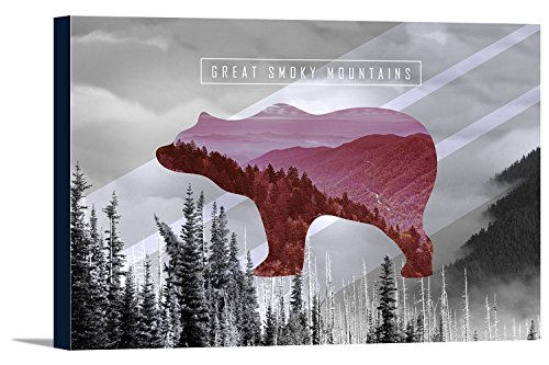 Great Smoky Mountains - Pink Bear Photo Overlay (36x24 Gallery Wrapped Stretched ()