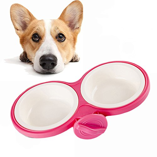 Pet Durable Bowl Cage Bowl,Pet Food Water Removable Bowls with Bolt Holder Hanging Cage Coop Cup Non-Skid Feeder Set Double Diners Portable for Feeding Dogs Cats Birds (Pink)