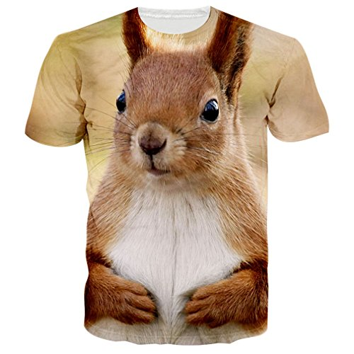 RAISEVERN Unisex Lovely Squirrel Tees Casual Awesome T Shirts Top Tees L