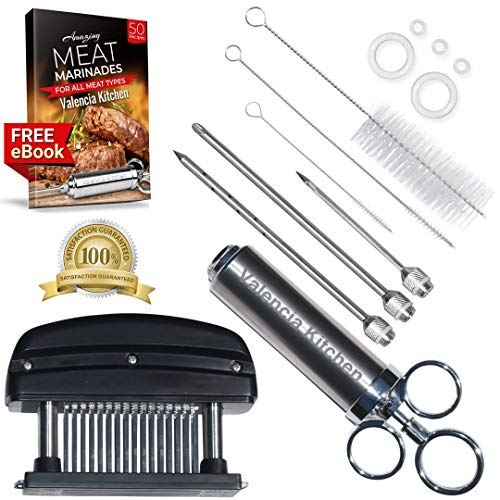 Turkey Meat Injector Syringe Kit - BBQ Brisket Flavor Injection - Steak Tenderizer Pounder