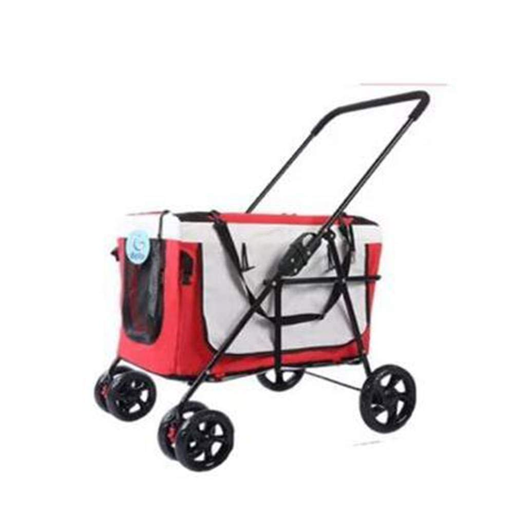 Red AIYI Pet stroller red, bluee and yellow, dog stand, trolley, Innopet, comfortable EFA off-road vehicle. Foldable pet car, stroller, dog stroller