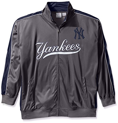 MLB New York Yankees Men's Team Reflective Tricot Track Jacket, 4X, Charcoal/Navy