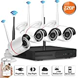 SW SWINWAY 4CH WIFI NVR Security Camera System with 4 Wireless WiFi IP Network 720P HD Day Night IR-CUT Outdoor/Indoor CCTV Surveillance Security Camera Plug and Play