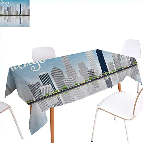 """familytaste Chicago Skyline Dinner Picnic Table ClothSkyscrapers Lake Michigan Illinois Classic American Scenery Street Waterproof Table Cover for Kitchen 54""""x90"""" Baby Blue Pale Grey"""