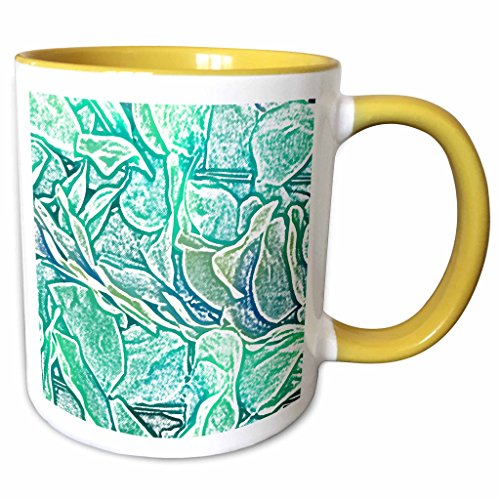 3dRose Susans Zoo Crew Flowers - blue lei sketch abstract - 15oz Two-Tone Yellow Mug (mug_186558_13) (Flower Two Tone Lei)