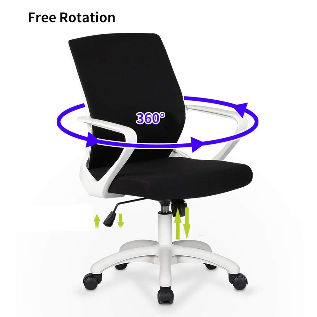 ZZHZY BBGS ergonomisk halvrygg svängbar skrivbordsstol, justerbart tyg nät kontorsstol dator uppgift stol med komfort andningsbart ländrygg stöd (färg: A) c