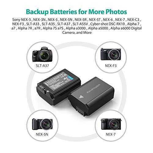 RX10 Accessories A6300 A7 A7S2 A6500 A7SII A7RII A7R A5100 A6400 A7II A7S NP-FW50 RAVPower 2-Pack Camera Battery Compatible with Sony A6000 Battery A55 A7R2 Black