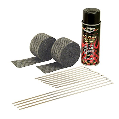 Design Engineering 010330 Motorcycle Exhaust Pipe Wrap Kit with Hi-Temp Silicone Coating Spray - Black Wrap / Black Spray