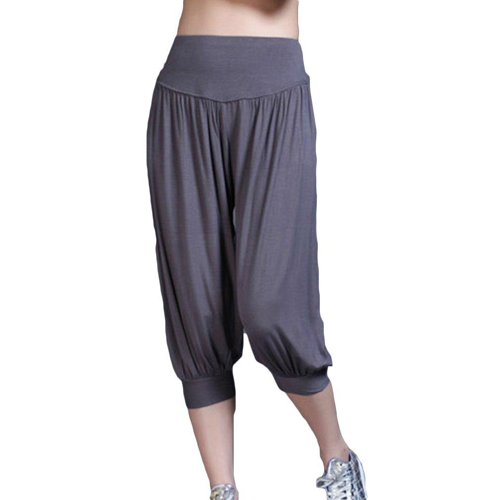 Yying Modal Baumwollmischung Weichen Yoga Hohe Taille Lose Laterne Hosen, Asiatische S-2XL (7 Feste Farben)