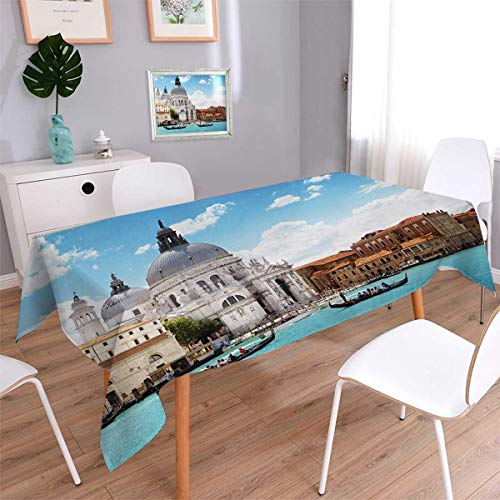 Picnic Table Cloth Grand Canal And Basilica Santa Maria Della Salute Italian Architecture Waterproof Table Cover for Kitchen Blue White Light Coffee Size: W36