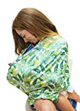 infant car seat cover green - Full Coverage Nursing Cover and Infant Car Seat Canopy with Pack-Away Pocket - Bon Appetit - White, Green, Tropical - Baby Shower Gift for Boys and Girls - Multi Use Soft & Stretchy Covers