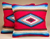 Mission Del Rey Pair of Old Style Southwestern Pillow Covers 18x18 - Navajo Red