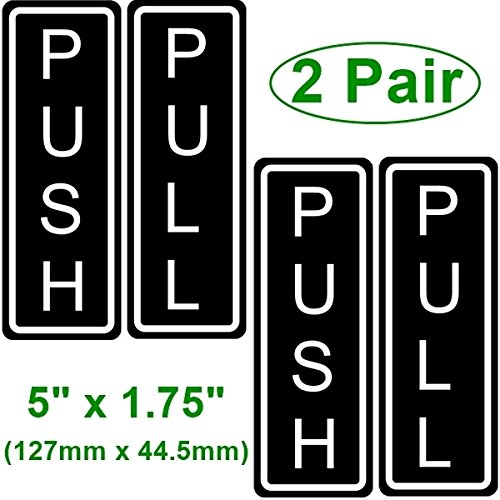 outdoorindoor 2 pack push and 2 pack pull vertical door sign 5 x 175 black white sticker decal for business store shop back self adhesive vinyl