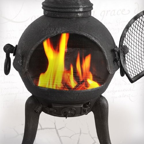 Gartenofen Gartenkamin Kamin Feuerstelle Feuerkorb Deuba 101090 Terrassenofen aus Gusseisen