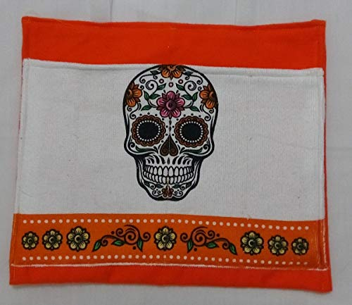 Sugar Skull Orange Bag Pouch Storage Walker Wheelchair Stroller Grocery Cart etc. from Craft and Sewing Box