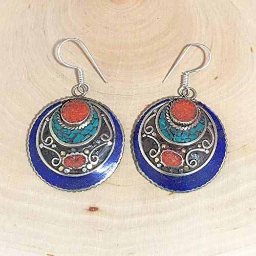 (Sivalya Bohemian Style Fashion Statement Earrings Round with Turquoise, Lapis Lazuli and Red Coral Inlay Silver Plated Jewelry for Women)