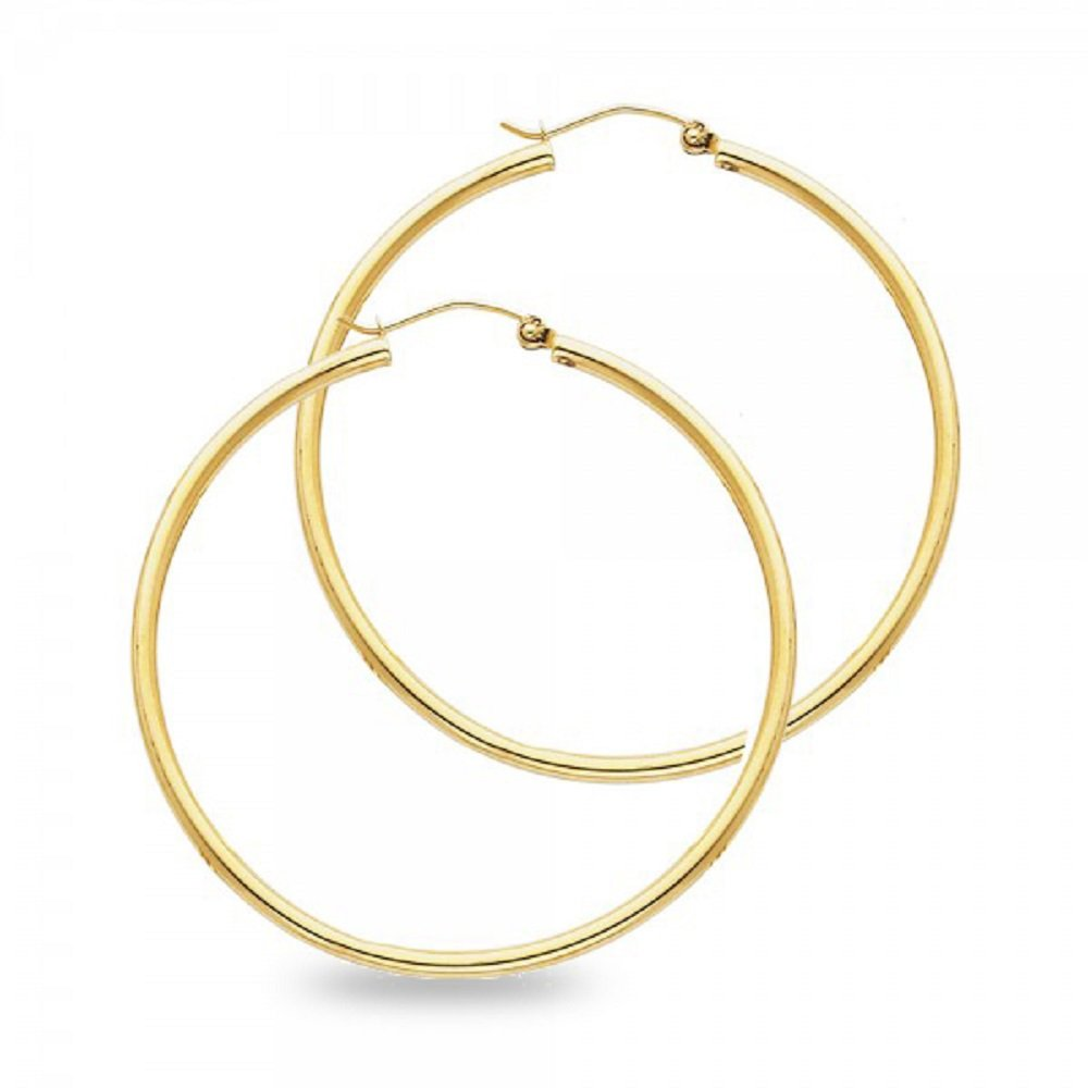 Solid 14k Yellow Gold Round Hoop Earrings Classic French Lock Polished Finish Genuine New 35 x 2 mm